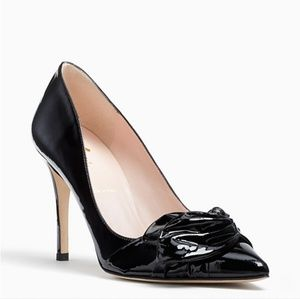 Kate Spade Black Pointed Leather Lareen Bow Heel